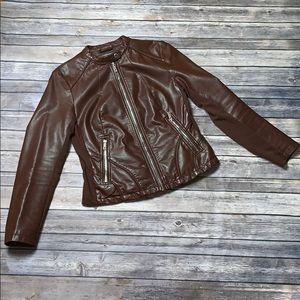 KENNETH COLE Brown Vegan Leather Moto Jacket M